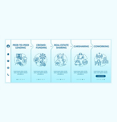 Sharing economy onboarding template vector