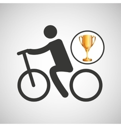 silhouette man cycling rice athlete trophy vector image