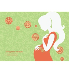 Silhouette of pregnant woman in summer vector