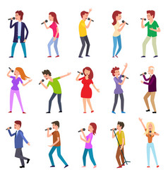 singing characters isolated man woman entertain vector image
