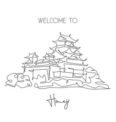 Single continuous line drawing himeji castle vector
