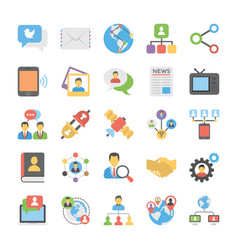 Social connection flat icons vector