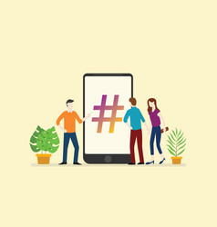 social media hashtag business with people men and vector image
