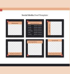 Social media instagram feed post template set for vector