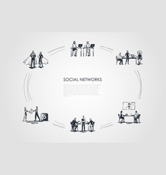social networks - business people in office vector image