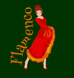spanish girl flamenco dancer in red dress vector image