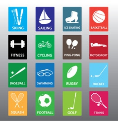 sport equipment color icon set eps10 vector image