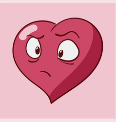 St valentines cartoon heart character emotions vector