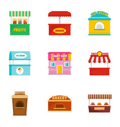 street snack icons set cartoon style vector image