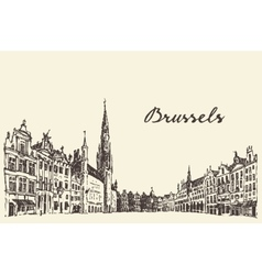 Streets in Brussels engraved drawn sketch vector