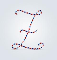 Striped font Z vector
