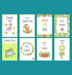 summer set of sale banner templates with cute hand vector image