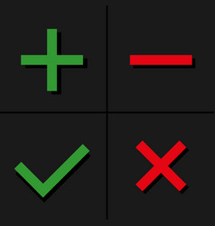 Tick cross plus minus icon set vector