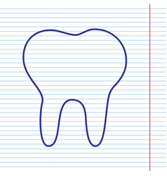tooth sign navy line icon on vector image