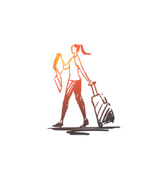 Traveler woman luggage tourist vector