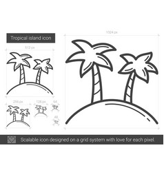 Tropical island line icon vector