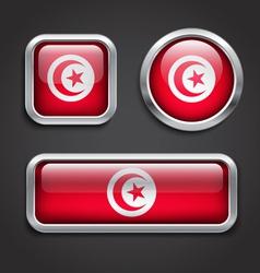 Tunisia flag glass buttons vector