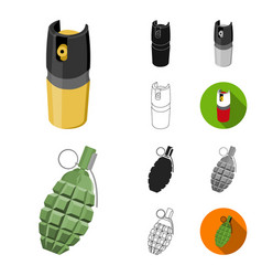 types of weapons cartoonblackflatmonochrome vector image