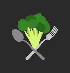 Vegetarian logo Broccoli with a fork and spoon vector