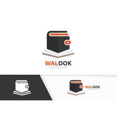wallet and open book logo combination vector image