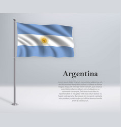 Waving flag argentina on flagpole template vector