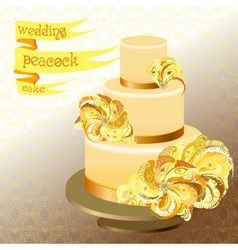 Wedding cake with peacock feathers Golden yellow vector image