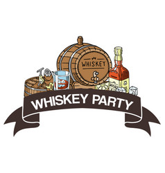 Whiskey party banner glass vector