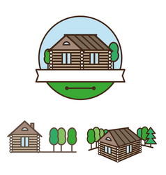 wooden house logo vector image