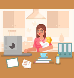 Working woman with child home room interior vector