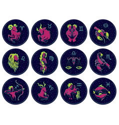 Zodiac signs on night vector