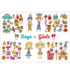 Hand drawn baby boy and girl toys set Doodle vector image vector image