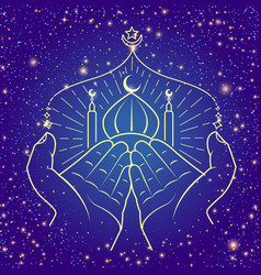 hands praying namaz line vector image