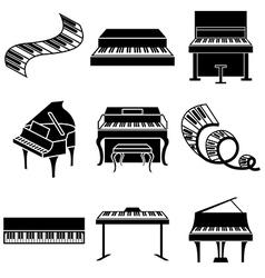 logo icons piano vector image