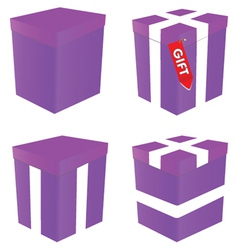 purple gift box vector image vector image