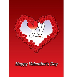 Rabbits couple Valentine card vector image vector image