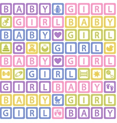 seamless pattern with blocks baby girl vector image