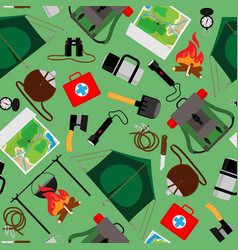 forest camp seamless pattern tourist vector image vector image