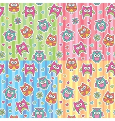 patterns of cartoon owls vector image