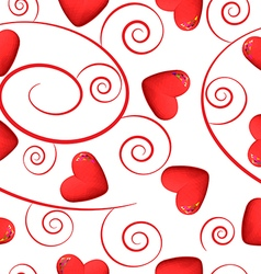 Red hearts and swirls on white background vector image vector image