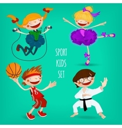 Set of sportive kids vector image