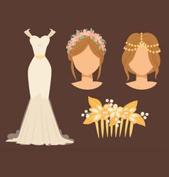 Wedding bride dress accessory celebration vector