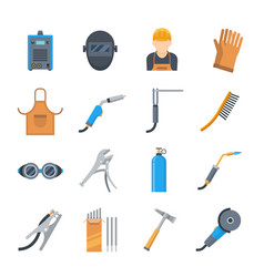 welding icons in a flat style vector image vector image