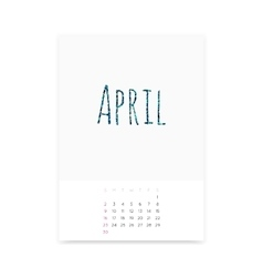 April 2017 Calendar Page vector image