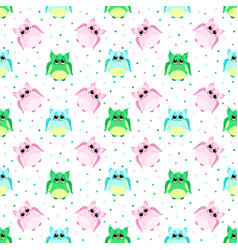 cute sad pink blue green colored owls vector image vector image
