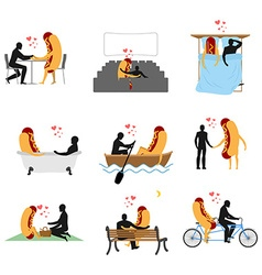 Love for hot dog set Man and fast food in cinema vector image