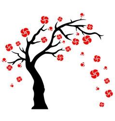 Tree Blowing Flowers vector image vector image