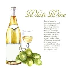 Watercolor wine design elements vector image