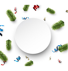 white round christmas card with serpentine vector image