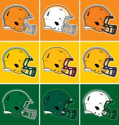 Colored football helmets in orange yellow green vector