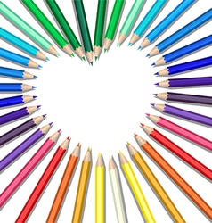 Colored pencils heart vector image vector image